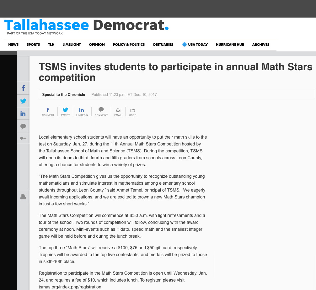 Annual Math Stars competition