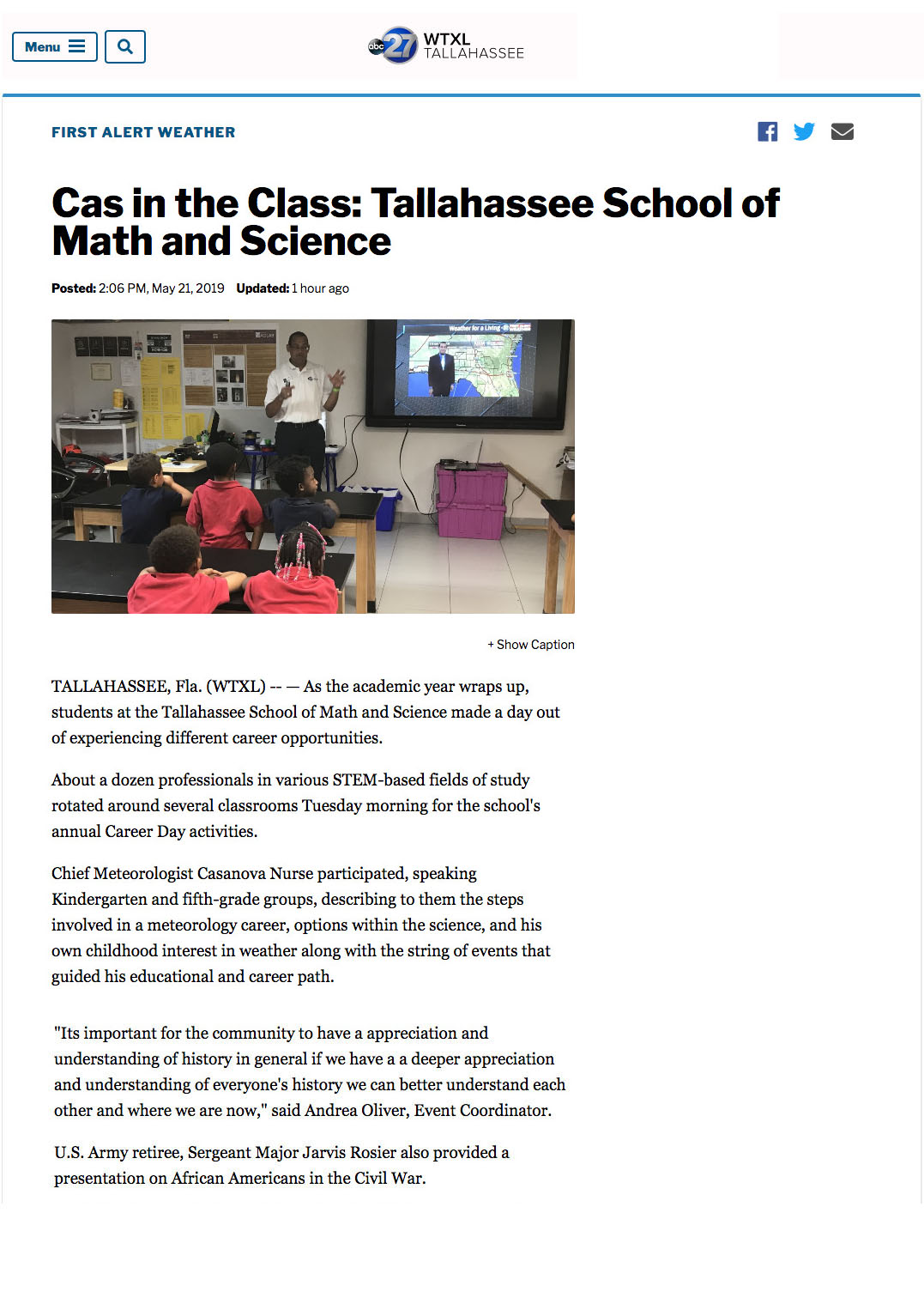 Cas in the Class: Tallahassee School of Math and Science